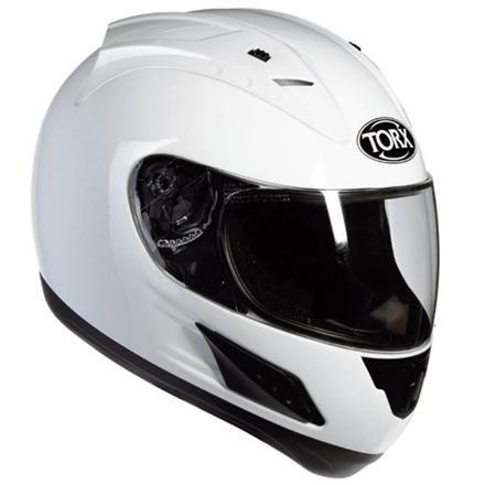 casque de moto blanc