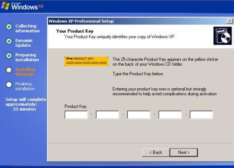 clé de produit windows xp