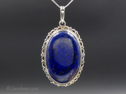 collier lapis lazuli argent