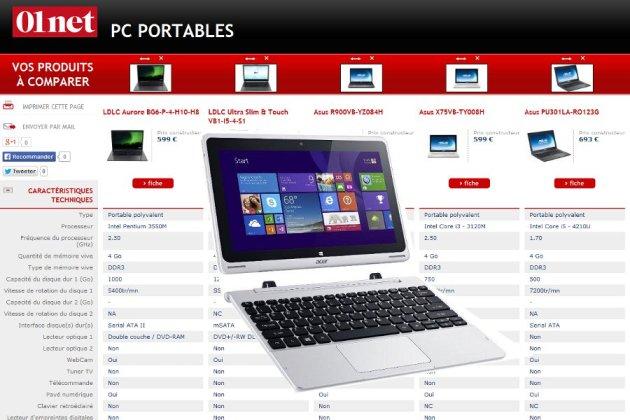 comparateur portable pc