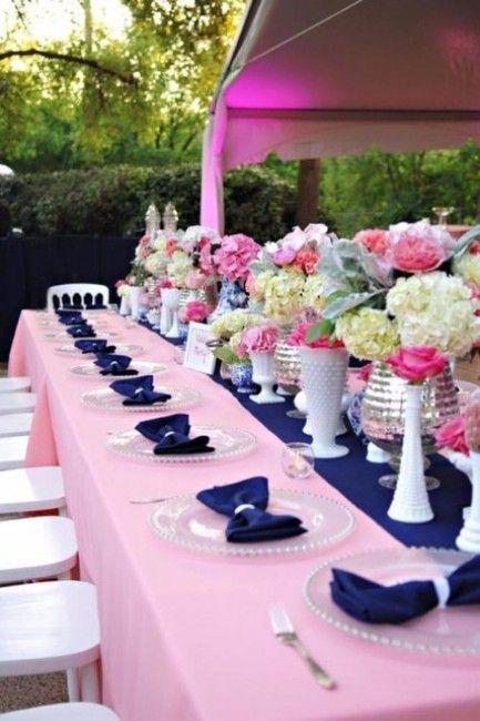deco mariage bleu marine et rose