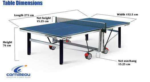 dimension table de ping pong cornilleau