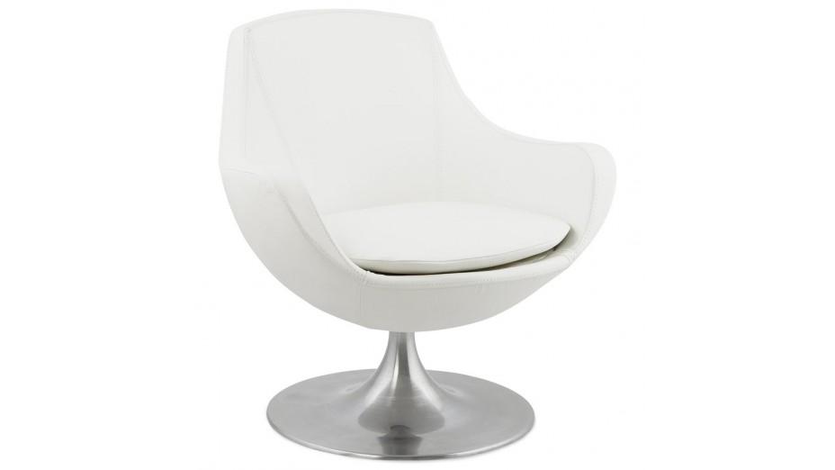 fauteuil simili cuir blanc