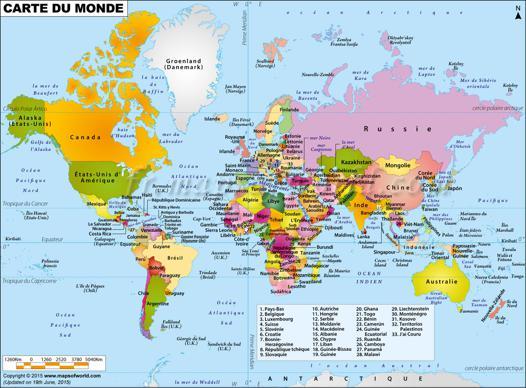le carte du monde