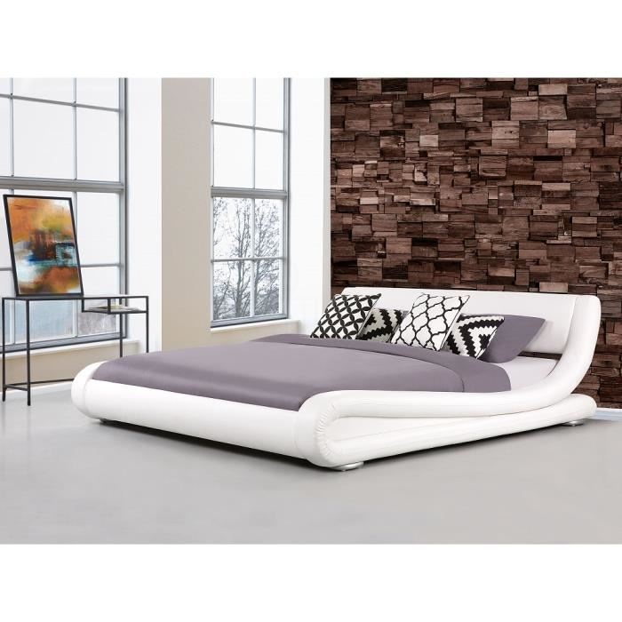 lit en cuir blanc