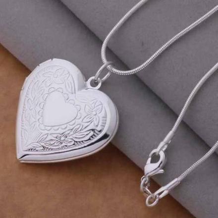 pendentif coeur porte photo argent