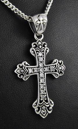 pendentif croix gothique argent