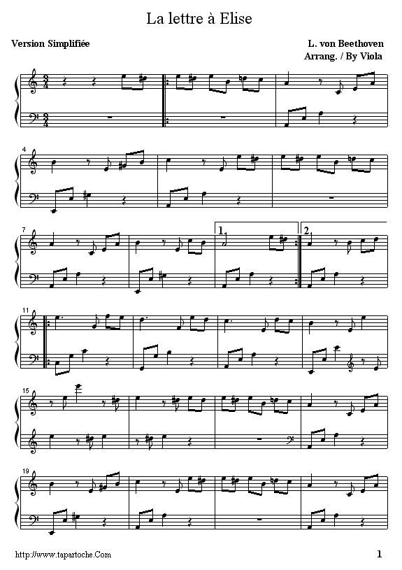 piano facile lettre a elise