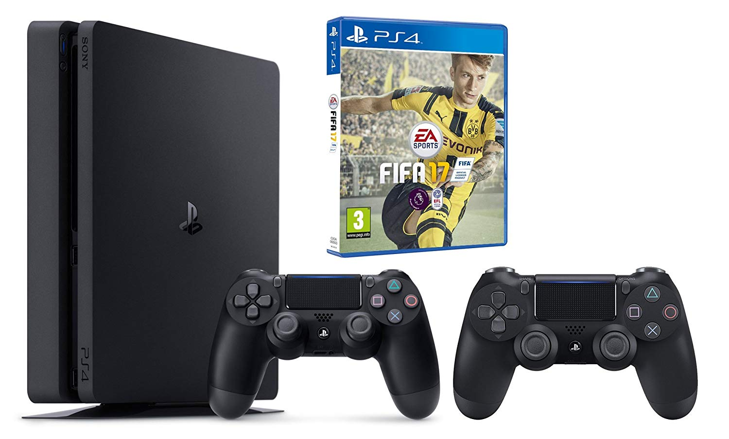 ps4 slim + fifa 17 + 2 manettes