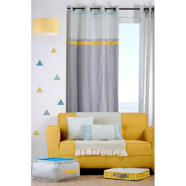 rideau bleu et jaune
