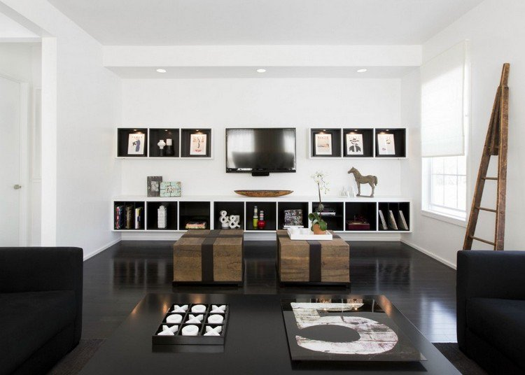 salon gris noir et blanc
