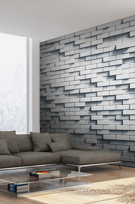 salon papier peint brique