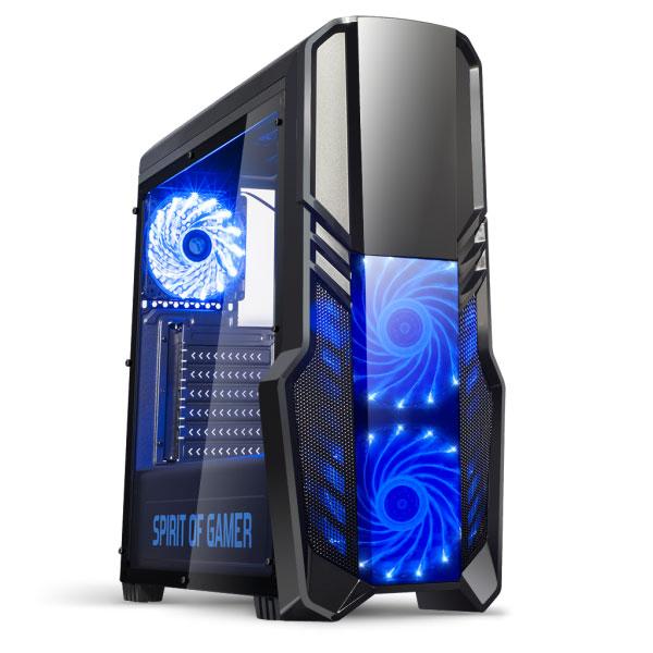 spirit of gamer boîtier pc gamer rogue ii bleu