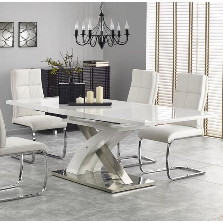 table à manger blanc laqué