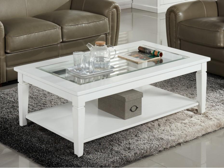 table basse blanche et verre