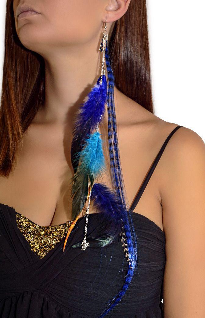 boucle d oreille plume longue
