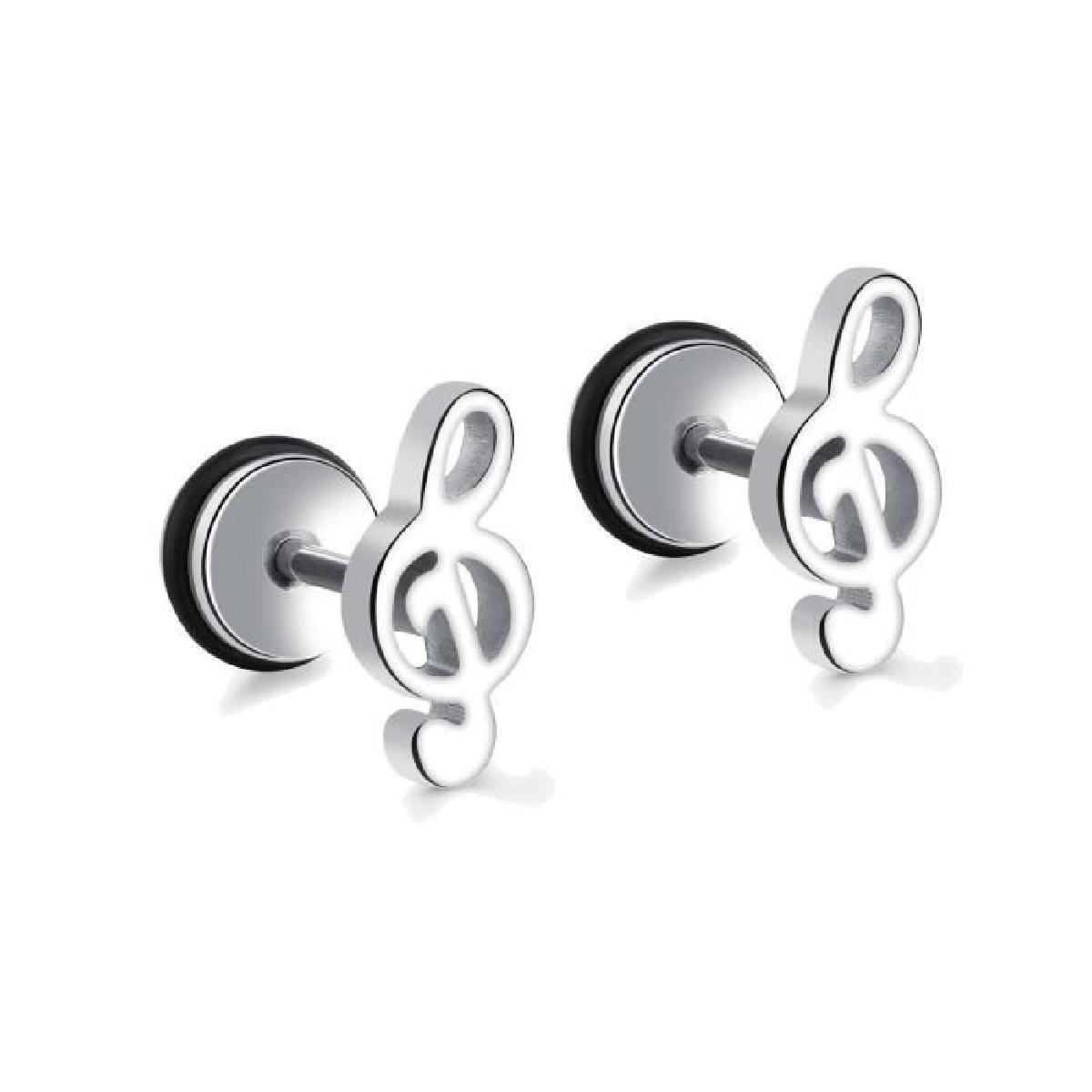 boucles d oreilles note de musique argent