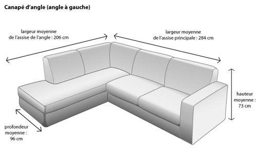 canapé angle dimension