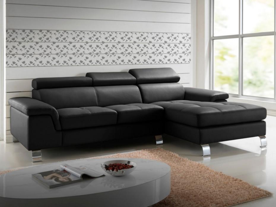 canapé d angle en cuir noir