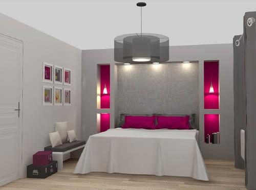 chambre grise et rose fushia