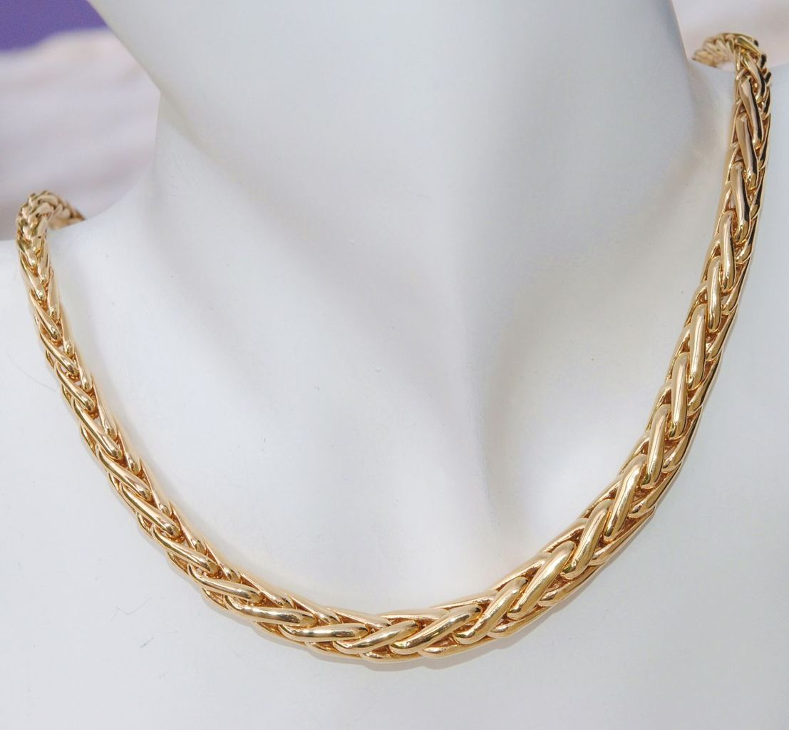 collier or maille palmier 18 carats