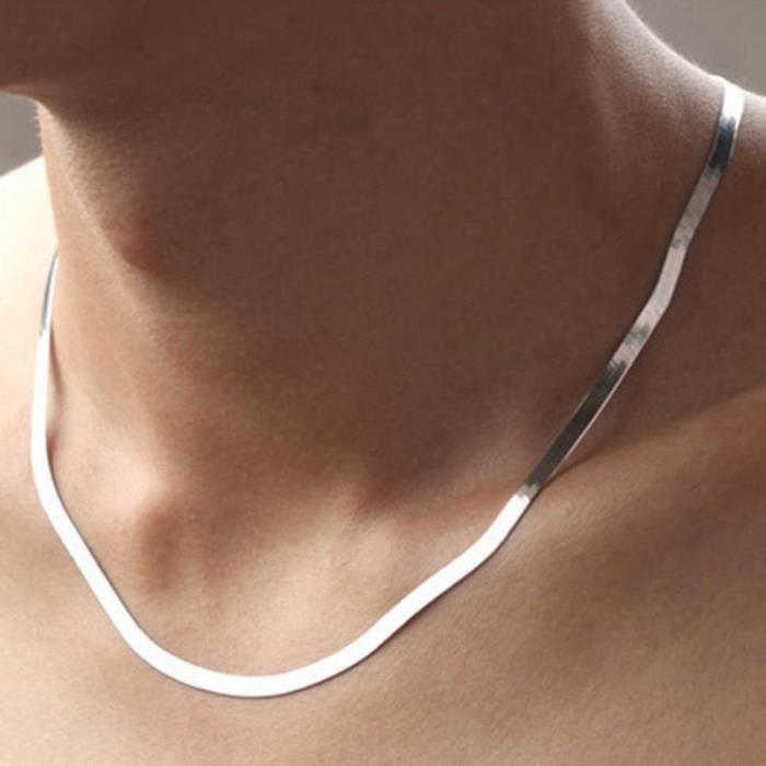 collier plat argent femme