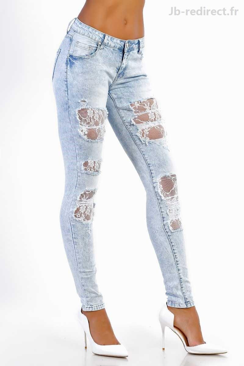 jeans troué femme pas cher