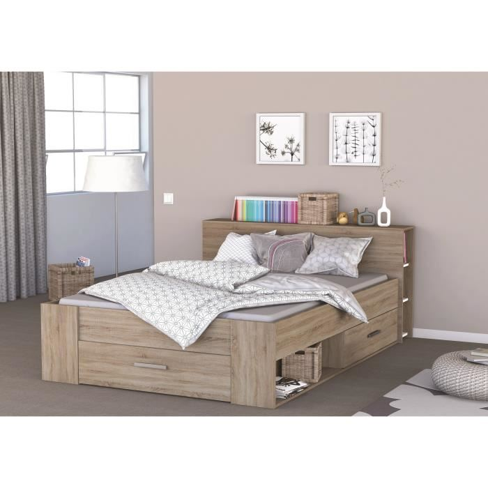 lit 2 personnes avec rangement pas cher