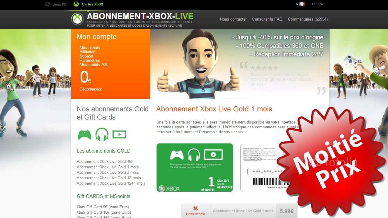 live xbox pas cher
