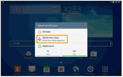 mode avion samsung tablette