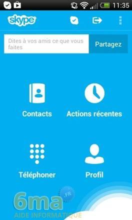 mode emploi skype android
