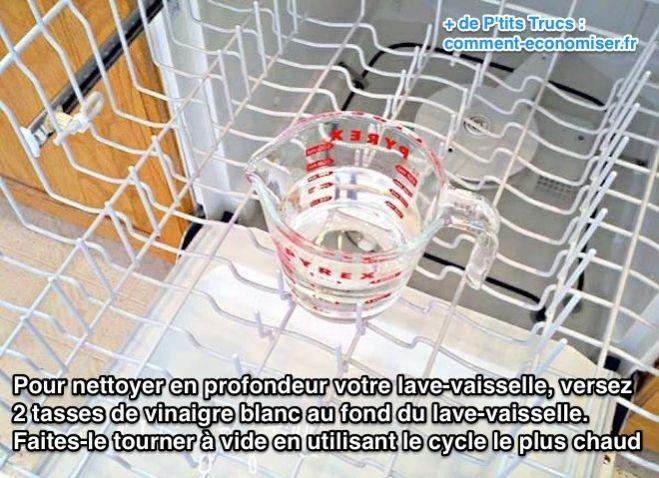 nettoyer le lave vaisselle au vinaigre blanc