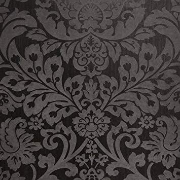 papier peint damassé noir