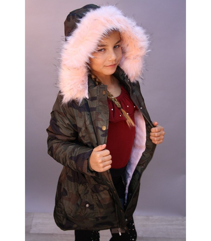 parka fourrure rose fille