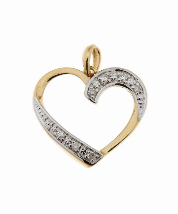 pendentif coeur or jaune et diamant