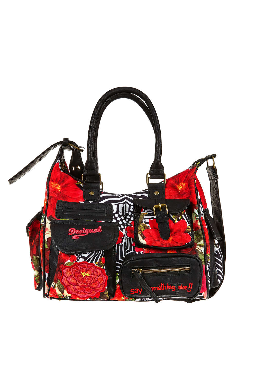 sac desigual rouge et noir